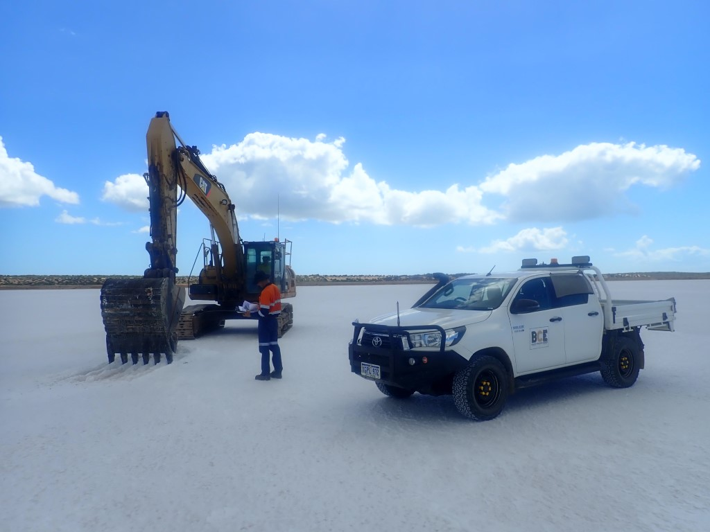 Flow Consulting engineers working on a salt lake.